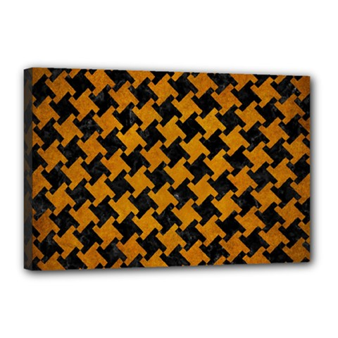 Houndstooth2 Black Marble & Yellow Grunge Canvas 18  X 12  by trendistuff