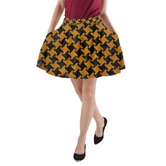 Houndstooth2 Black Marble & Yellow Grunge A Line Pocket Skirt by trendistuff