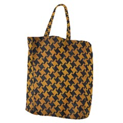 Houndstooth2 Black Marble & Yellow Grunge Giant Grocery Zipper Tote by trendistuff