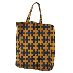 Puzzle1 Black Marble & Yellow Grunge Giant Grocery Zipper Tote by trendistuff