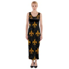 Royal1 Black Marble & Yellow Grunge Fitted Maxi Dress by trendistuff
