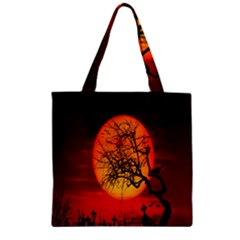 Helloween Midnight Graveyard Silhouette Zipper Grocery Tote Bag by Mariart