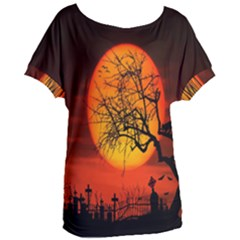Helloween Midnight Graveyard Silhouette Women s Oversized Tee by Mariart