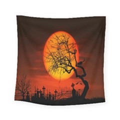 Helloween Midnight Graveyard Silhouette Square Tapestry (small) by Mariart