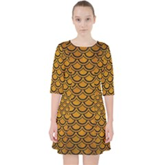 Scales2 Black Marble & Yellow Grunge Pocket Dress by trendistuff