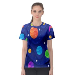 Planet Space Moon Galaxy Sky Blue Polka Women s Sport Mesh Tee by Mariart