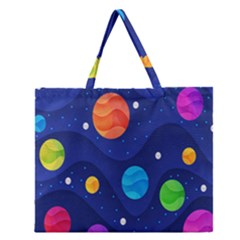 Planet Space Moon Galaxy Sky Blue Polka Zipper Large Tote Bag by Mariart