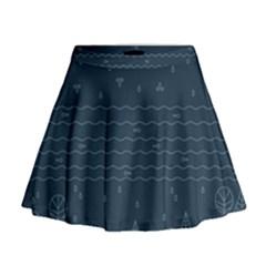 Rain Hill Tree Waves Sky Water Mini Flare Skirt