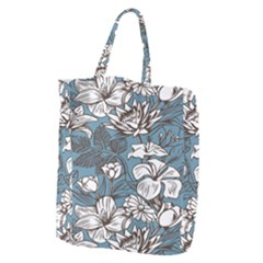 Star Flower Grey Blue Beauty Sexy Giant Grocery Zipper Tote by Mariart