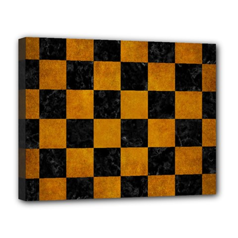 Square1 Black Marble & Yellow Grunge Canvas 14  X 11  by trendistuff
