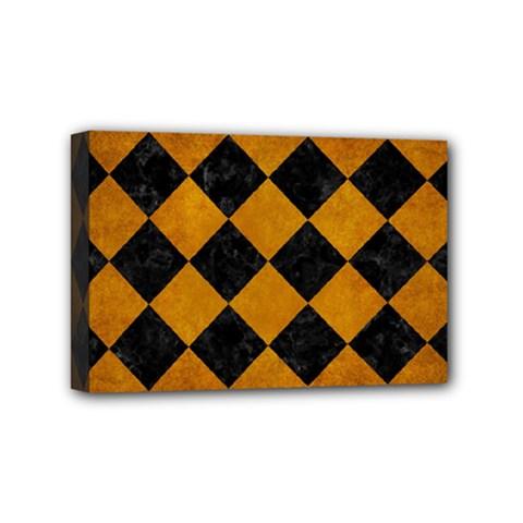 Square2 Black Marble & Yellow Grunge Mini Canvas 6  X 4  by trendistuff