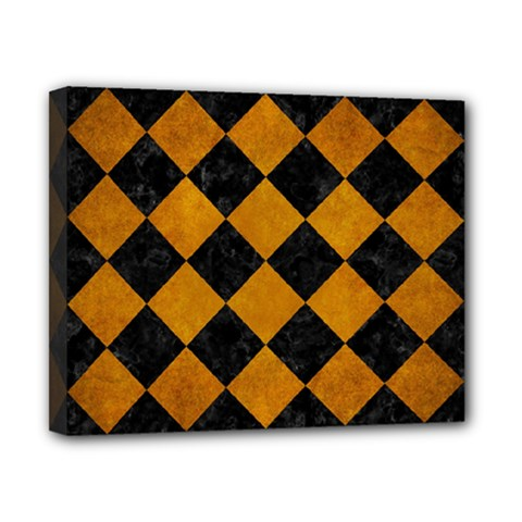 Square2 Black Marble & Yellow Grunge Canvas 10  X 8  by trendistuff