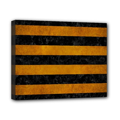 Stripes2 Black Marble & Yellow Grunge Canvas 10  X 8  by trendistuff