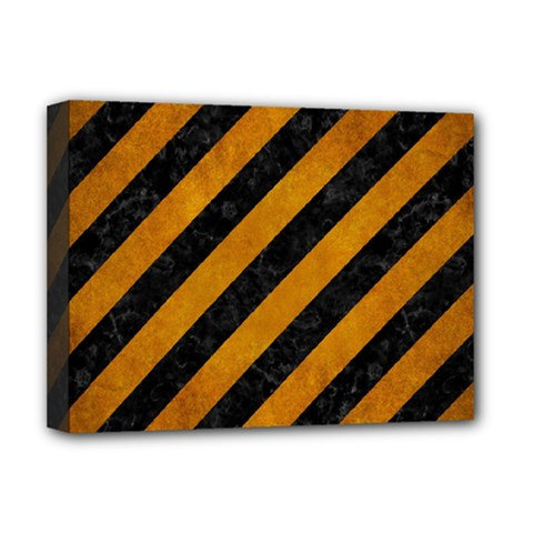 Stripes3 Black Marble & Yellow Grunge (r) Deluxe Canvas 16  X 12   by trendistuff