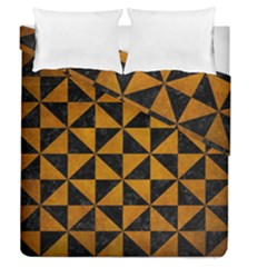 Triangle1 Black Marble & Yellow Grunge Duvet Cover Double Side (queen Size) by trendistuff