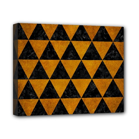 Triangle3 Black Marble & Yellow Grunge Canvas 10  X 8  by trendistuff