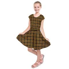Woven1 Black Marble & Yellow Grunge (r) Kids  Short Sleeve Dress