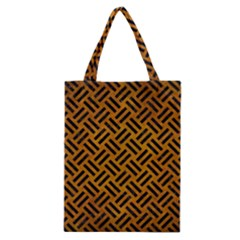Woven2 Black Marble & Yellow Grunge Classic Tote Bag by trendistuff