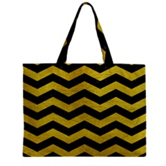 Chevron3 Black Marble & Yellow Leather Zipper Mini Tote Bag by trendistuff