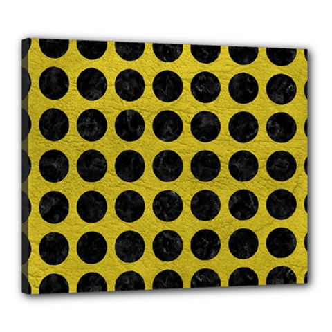 Circles1 Black Marble & Yellow Leather Canvas 24  X 20