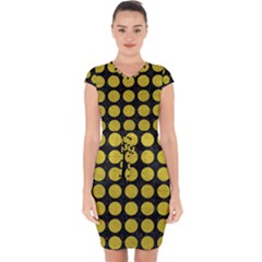 Circles1 Black Marble & Yellow Leather (r) Capsleeve Drawstring Dress