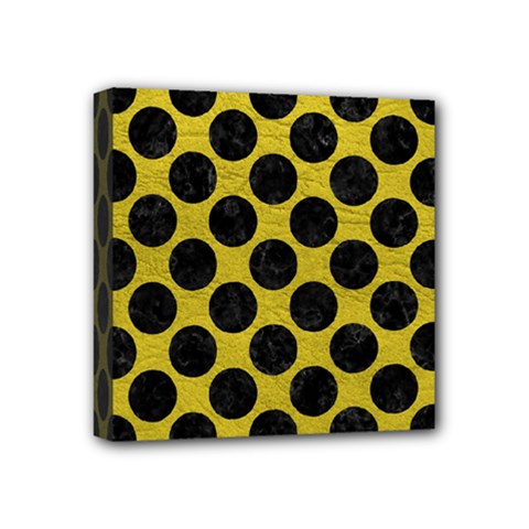 Circles2 Black Marble & Yellow Leather Mini Canvas 4  X 4