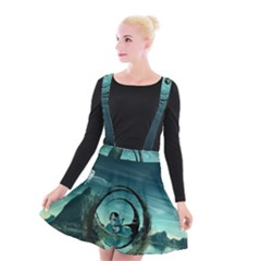 Cute Fairy Dancing On The Moon Suspender Skater Skirt by FantasyWorld7