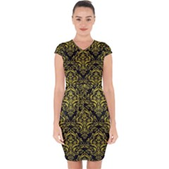 Damask1 Black Marble & Yellow Leather (r) Capsleeve Drawstring Dress