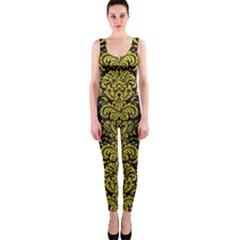 Damask2 Black Marble & Yellow Leather (r) Onepiece Catsuit by trendistuff