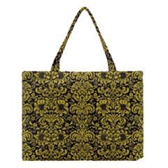 Damask2 Black Marble & Yellow Leather (r) Medium Tote Bag by trendistuff