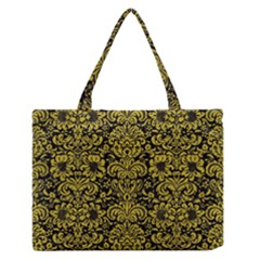 Damask2 Black Marble & Yellow Leather (r) Zipper Medium Tote Bag by trendistuff