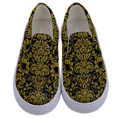 Damask2 Black Marble & Yellow Leather (r) Kids  Canvas Slip Ons