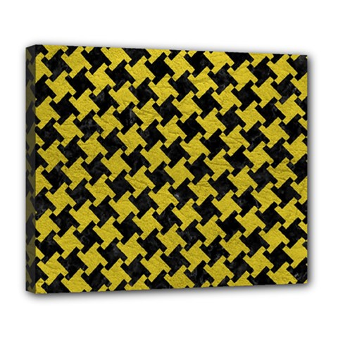 Houndstooth2 Black Marble & Yellow Leather Deluxe Canvas 24  X 20   by trendistuff
