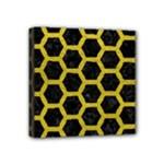 HEXAGON2 BLACK MARBLE & YELLOW LEATHER (R) Mini Canvas 4  x 4