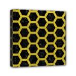 HEXAGON2 BLACK MARBLE & YELLOW LEATHER (R) Mini Canvas 6  x 6