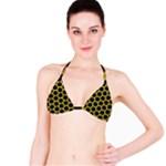 HEXAGON2 BLACK MARBLE & YELLOW LEATHER (R) Bikini Top