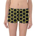 HEXAGON2 BLACK MARBLE & YELLOW LEATHER (R) Reversible Boyleg Bikini Bottoms