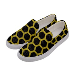 Hexagon2 Black Marble & Yellow Leather (r) Women s Canvas Slip Ons by trendistuff