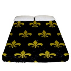 Royal1 Black Marble & Yellow Leather Fitted Sheet (king Size) by trendistuff
