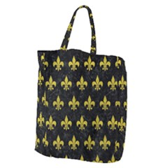 Royal1 Black Marble & Yellow Leather Giant Grocery Zipper Tote by trendistuff