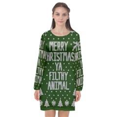 Ugly Christmas Sweater Long Sleeve Chiffon Shift Dress