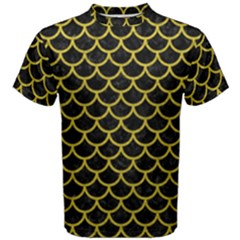 Scales1 Black Marble & Yellow Leather (r) Men s Cotton Tee