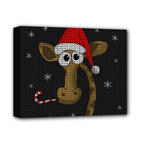 Christmas Giraffe  Deluxe Canvas 14  X 11  by Valentinaart