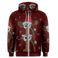Christmas Giraffe  Men s Zipper Hoodie by Valentinaart