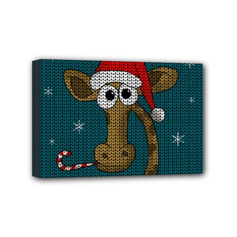 Christmas Giraffe  Mini Canvas 6  X 4  by Valentinaart