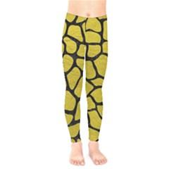 Skin1 Black Marble & Yellow Leather (r) Kids  Legging by trendistuff
