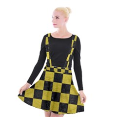 Square1 Black Marble & Yellow Leather Suspender Skater Skirt by trendistuff