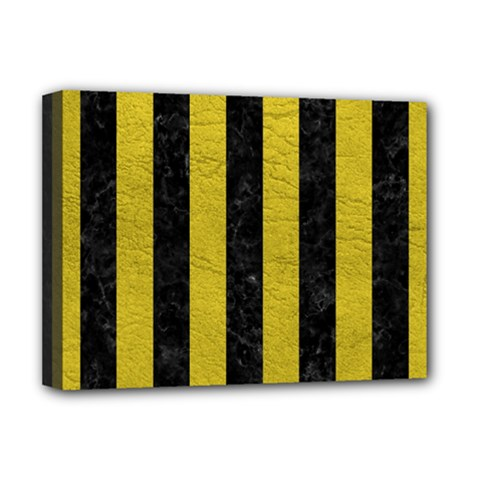 Stripes1 Black Marble & Yellow Leather Deluxe Canvas 16  X 12   by trendistuff