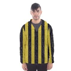 Stripes1 Black Marble & Yellow Leather Hooded Wind Breaker (men)