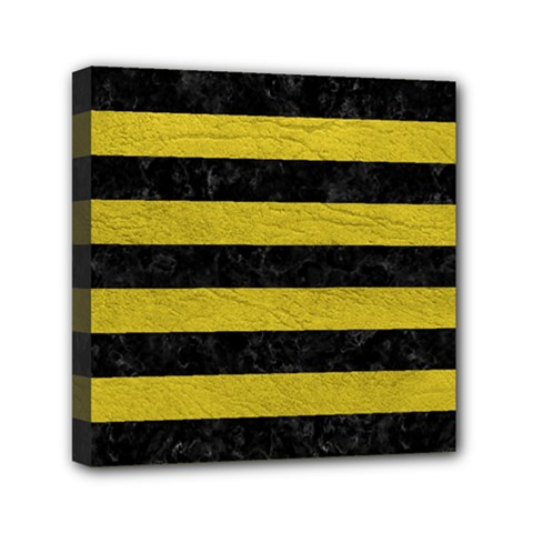 Stripes2 Black Marble & Yellow Leather Mini Canvas 6  X 6  by trendistuff